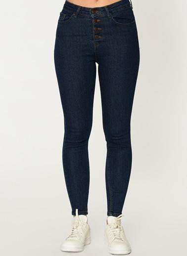 Loves You Düğmeli Yüksek Bel Jean Pantolon Mavi